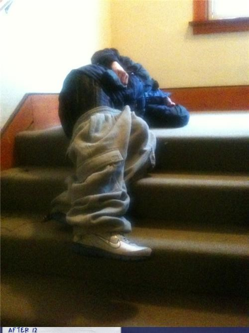 drunk,pants down,passed out,stairs