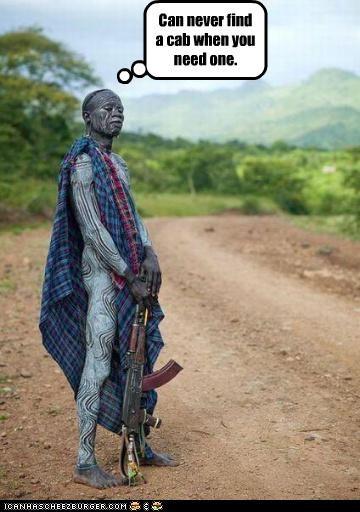 africa,body paint,cabs,guns,Sad,waiting