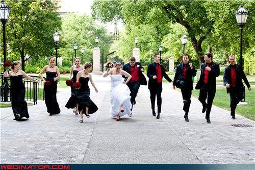 bride,bride skipping,bridesmaids skipping,fashion is my passion,funny wedding photos,groom,groom skipping,groomsmen skipping,skipping picture,skipping wedding picture,skipping wedding trend,technical difficulties,were-in-love,wedding party,wedding party skipping,wedding photo on college campus,wedding trends