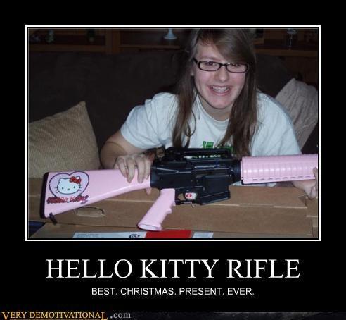 christmas,hello kittie,present,rifle
