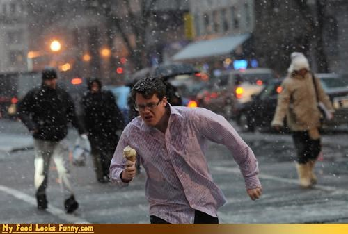 Funny Food Photos - Guy Running Through Snow With Ice Cream