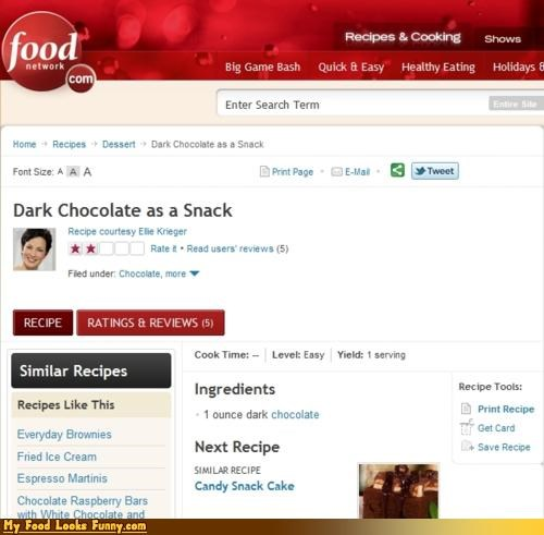 Funny Food Photos - Dark Chocolate as Snack Recipe