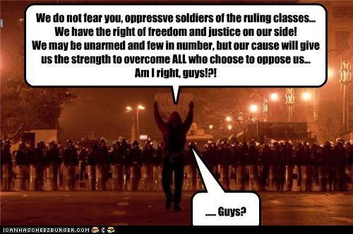 abandoned,egypt,guys,oppressors,protestors,riot gear,riots,support