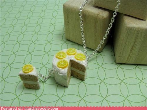 cake,chain,frosting,Jewelry,lemon,miniature,necklace,pendant