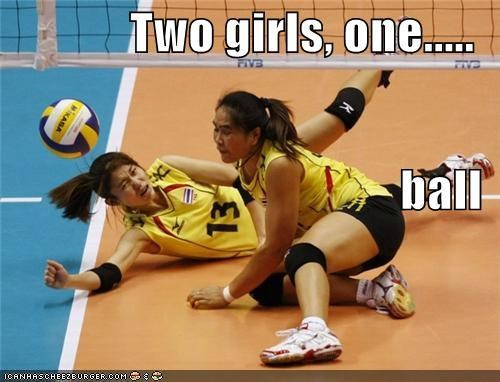 Two girls, one..... ball