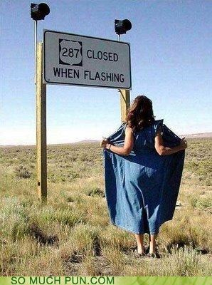 closed,clothes,double meaning,flashing,lights,literalism,promiscuity,stopped,traffic,woman