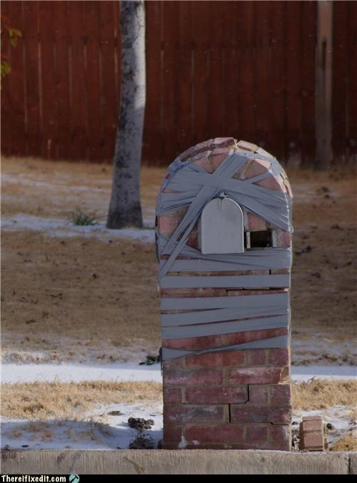 brick,duct tape,mailbox,Professional At Work
