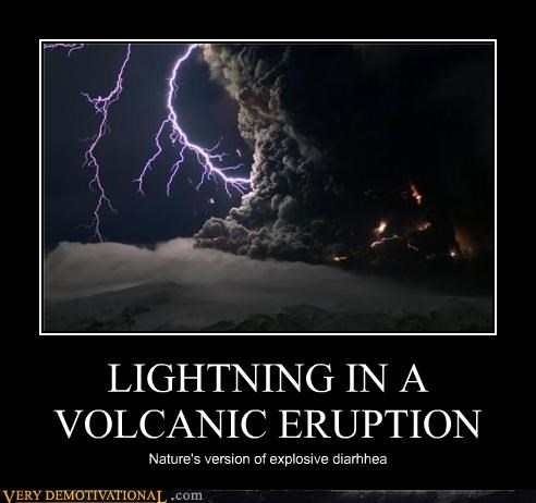 LIGHTNING IN A VOLCANIC ERUPTION