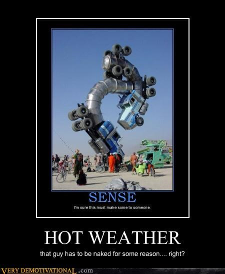 burning man,hot,not clothed,trucks,weather