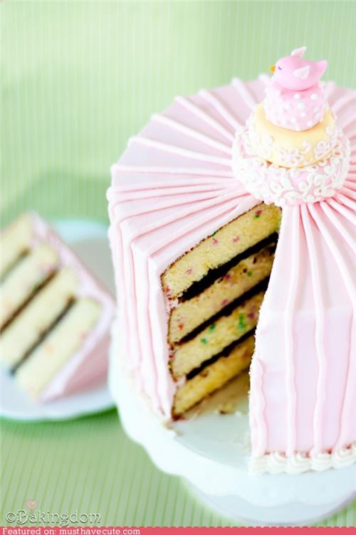 bird,cake,confetti,epicute,frosting,layers,pink,stripes