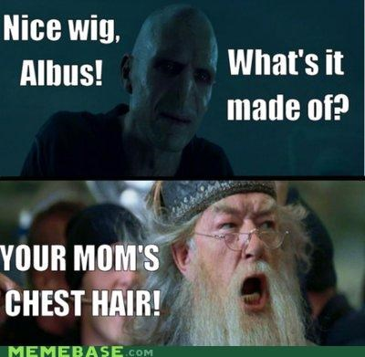 albus,chest hair,dumbledore,he who must not be named,Memes,wig,your mom