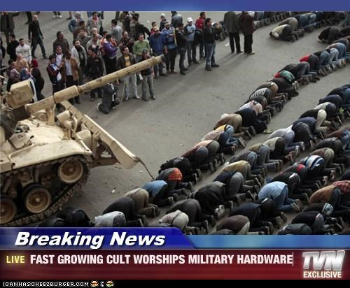 Breaking News - FAST GROWING CULT WORSHIPS MILITARY HARDWARE