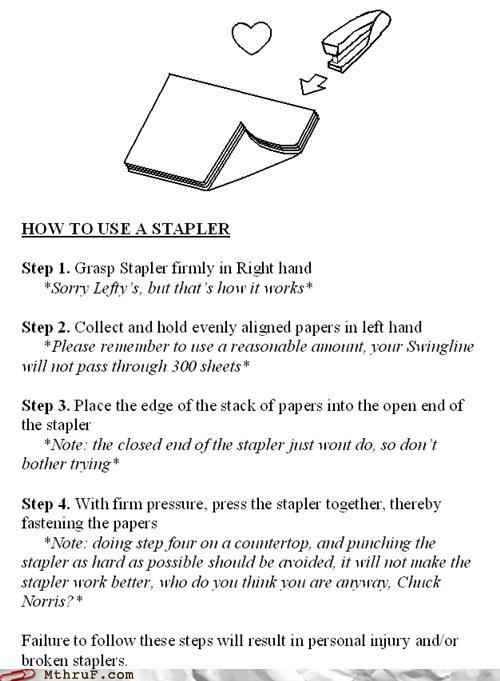 note,passive aggressive,stapler,steps