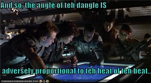 And so, the angle of teh dangle IS   adversely proportional to teh heat of teh beat...