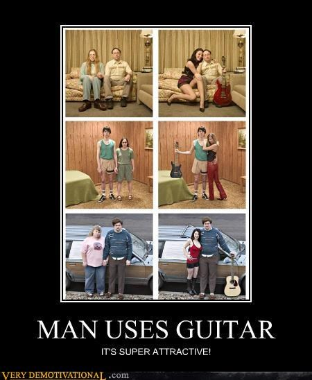 MAN USES GUITAR