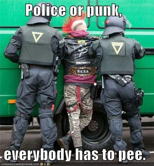 Police or punk,   everybody has to pee.