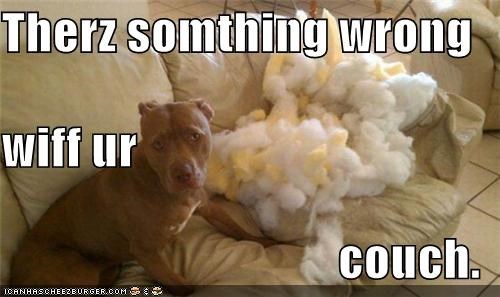 Therz somthing wrong  wiff ur  couch.