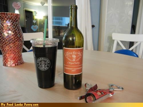 Funny Food Photos - Starbuck Trenta Cup Holds Entire Bottle of Wine