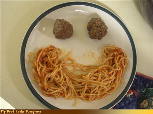 happy,meal,meatballs,plate,spaghetti