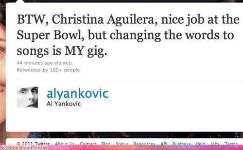 christina aguilera,funny,twitter,weird al