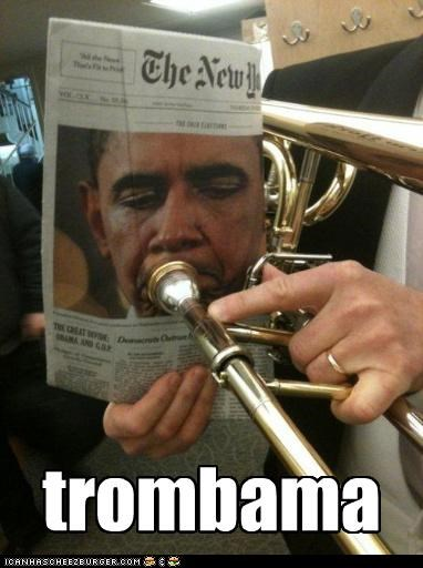 barack obama,frown,instrument,Music,new york times,newspaper,president,pun,trombone