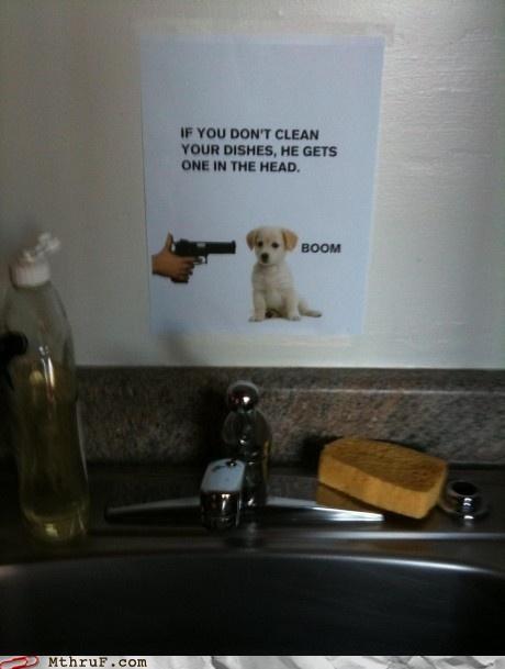 clean,dishes,kitchen,note,passive aggressive,sign