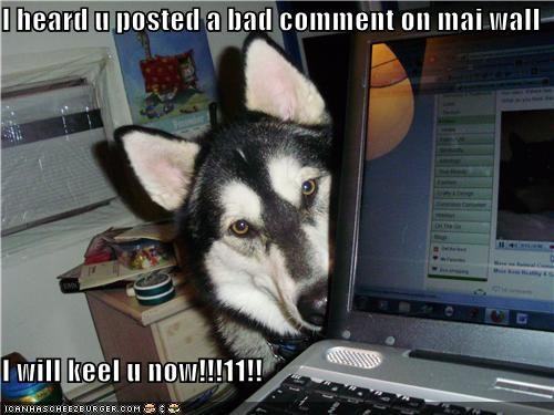 I heard u posted a bad comment on mai wall  I will keel u now!!!11!!