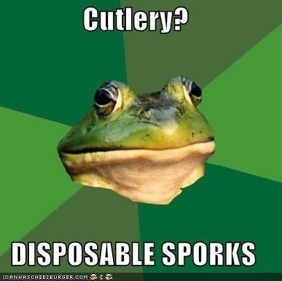 Cutlery?  DISPOSABLE SPORKS