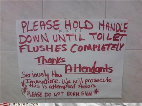 arson,fire,passive aggressive,sign,toilet