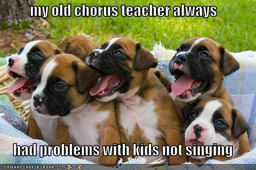 my old chorus teacher always   had problems with kids not singing
