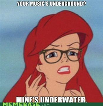 ariel,disney,hipster,hipster disney,hipster-disney-friends,Music,underground,underwater