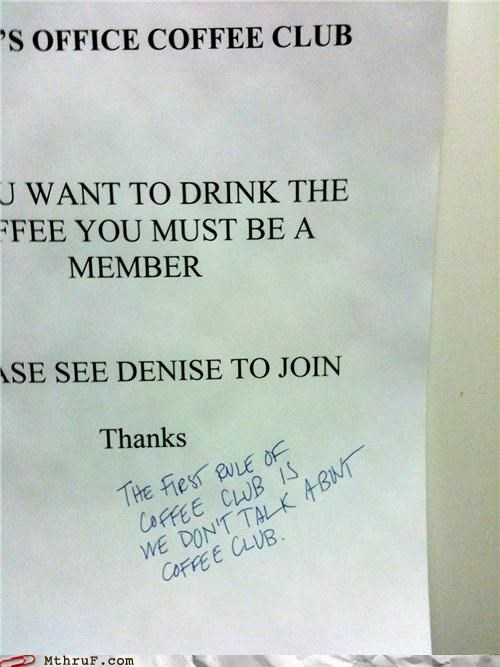 club,coffee,fight club,note,sign