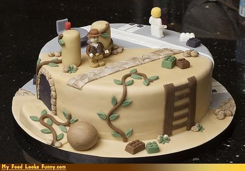 cake,fondant,Indiana Jones,intricate,lego