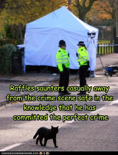 Raffles saunters casually away from the crime scene safe in the knowledge that he has  committed the perfect crime