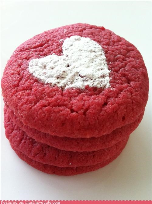 cookies,epicute,heart,powdered sugar,red