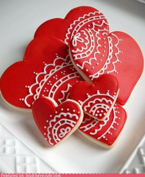 cookies,epicute,icing,lace,red,Valentines day