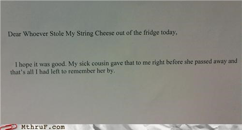 cheese,Death,fridge,note,thief