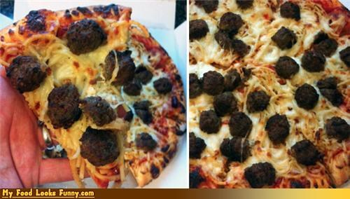 Funny Food Photos - Spaghetti and Meatball Pizza
