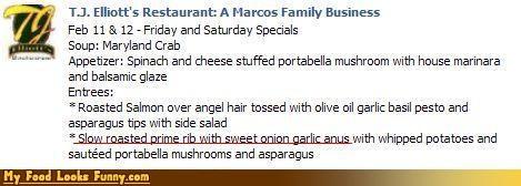 anus,menu,restaurant