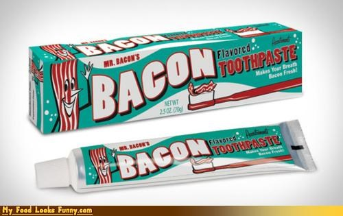 bacon,bacon toothpaste,brush,flavored toothpaste,teeth,toothpaste
