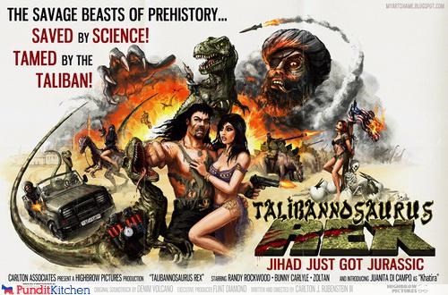 action,awesome,dinosaurs,movies,pun,taliban,t rex,wtf