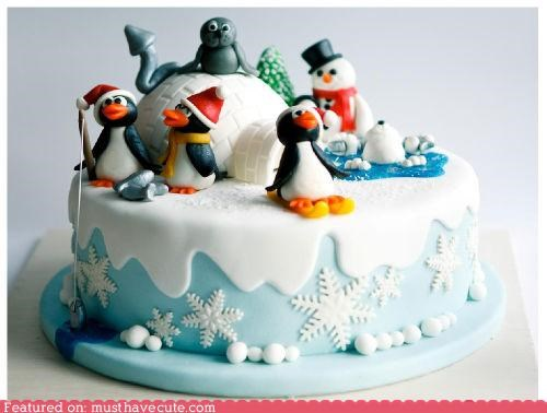 cake,epicute,fondant,ice,igloo,penguins,polar bears,seal,snow,tree