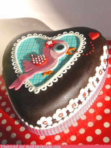 bird,cake,chocolate,epicute,fondant,polka dots