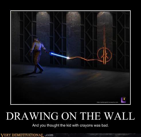 crayons,drawing,hilarious,Jedi,star wars,wall