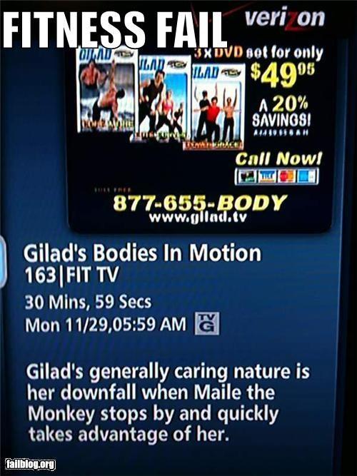 failboat,fitness,gym,innuendo,TV,tv guide