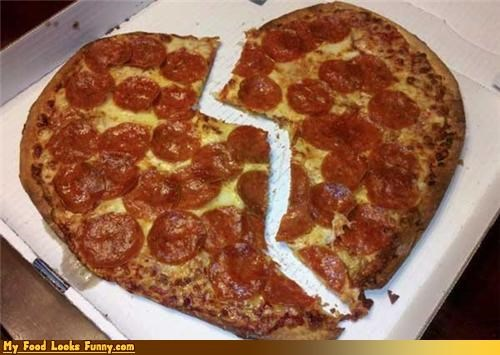 Funny Food Photos - Broken Heart Pizza