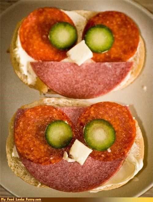 cheese,open face,owls,pepperoni,pickles,salami,sandwiches