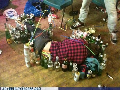 barrier,beer,bottles,cans,drunk,passed out,stacking