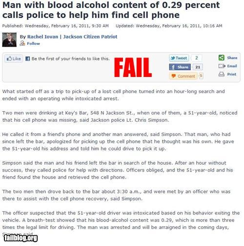 bad idea,calling,drunk,failboat,mobile phone,police,Probably bad News