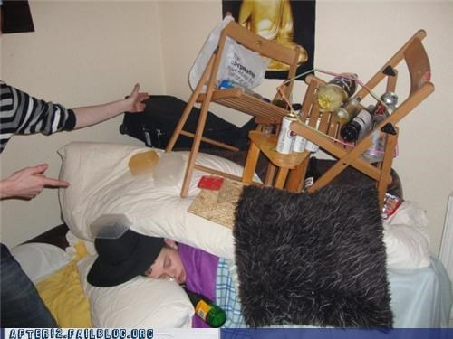 bed,bottles,chair,drunk,passed out,rug,stacking
